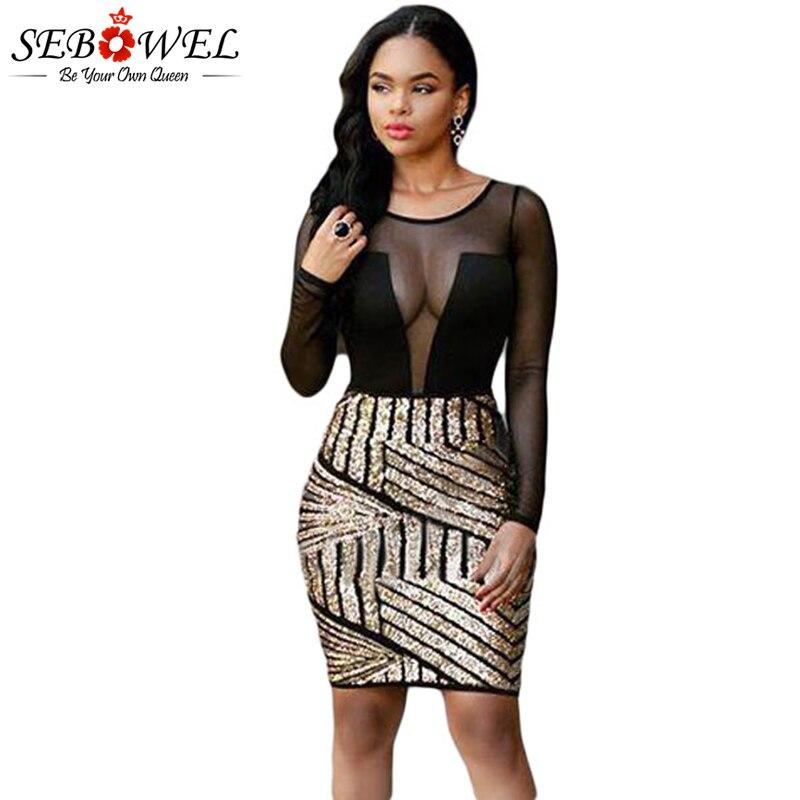 SEBOWEL Sexy Black Mesh Gold Sequin Night Club Dress Women Mesh ... 708388360b8f