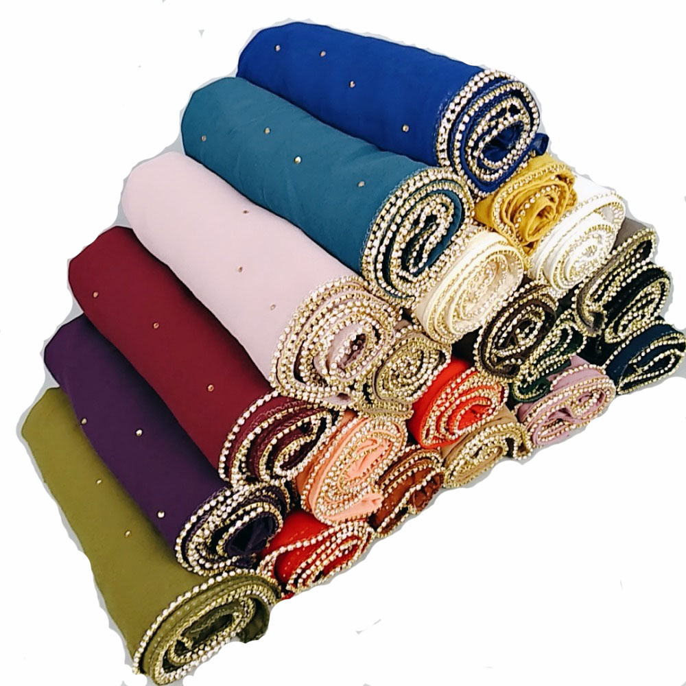 M1 Hot sale diamond bead bubble chiffon   wrap   hijab shawls lady headband   scarf     scarves   180*75cm