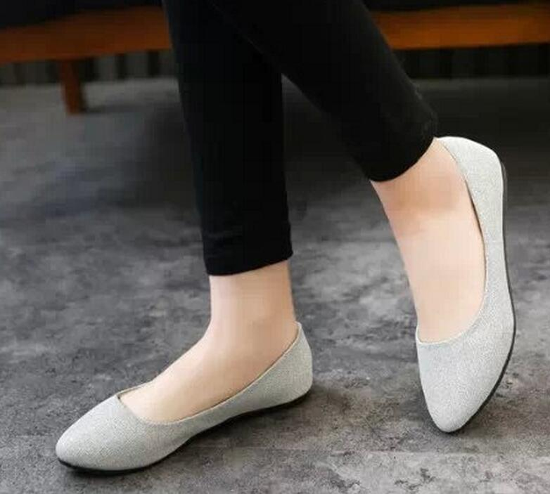Summer 2017 Black Women Shoes Flats Sweet Loafers Slip on Women's Pregnant Flat Pointed Solid Boat Leather Size35-40