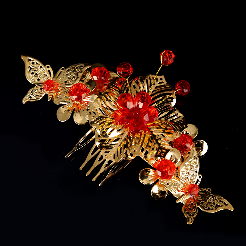 TUANMING Flower Butterfly Red Crystal Bridal Hair Combs Clips For Women Gold Bride Hairpins Wedding Hair Jewelry Hair Ornaments