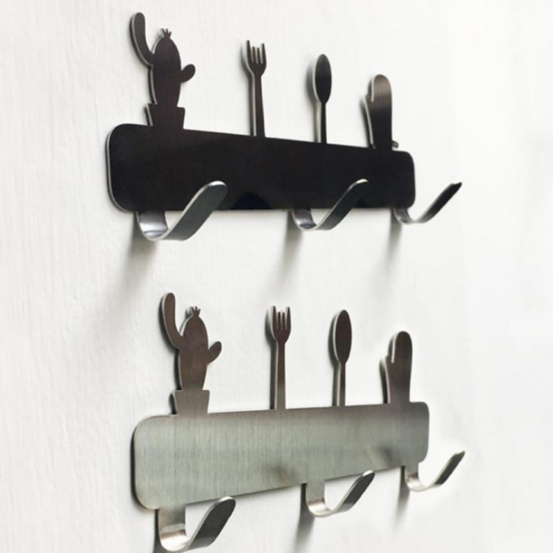 3 Hooks Kitchen Stainless Steel Wall  Bathroom Punching-free Clothes Cactus Tableware Hanger Bathroom Hanging Peg For Key
