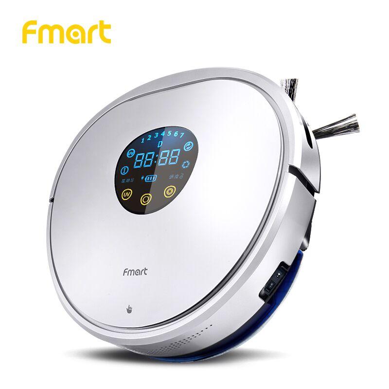 Fmart Robot aspirador friegasuelos inteligente de UV esterilización  Robot aspiradora Anticolisión Anticaída Auto Carga  de Auto limpio en húmedo y seco mando a distancia Caja de basra barrido de limpieza de la casa