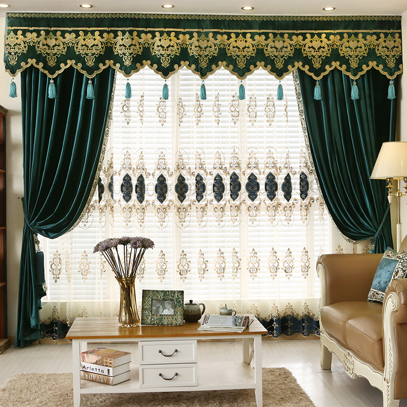 2016 new arrival eurpore luxury fashion jacquard drapes tulles and valances curtains cortina for. Black Bedroom Furniture Sets. Home Design Ideas