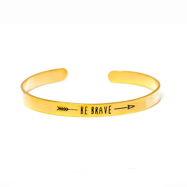 "Gold Color Arrow Inspiring ""BE BRAVE"" Cuff Bracelets & Bangles for Women Men Opening Carved Letter Stainless Steel Adjust"