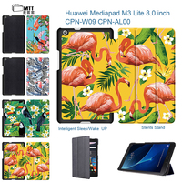 Colorful Flamingo PU Leather Flip Slim Cover For Huawei Mediapad M3 Lite 8 0 Tablet Stand