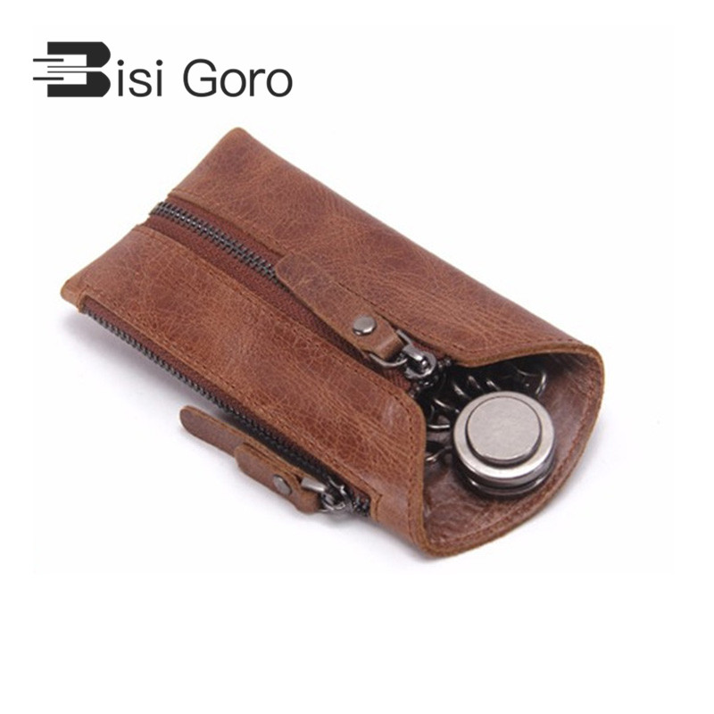 BISI GORO 2018 Vintage Echtem Leder Frau und Mann Schlüssel Brieftasche Für Auto Schlüssel kette Abdeckungen Reißverschluss Schlüssel Fall Tasche männlichen Schlüssel Halter