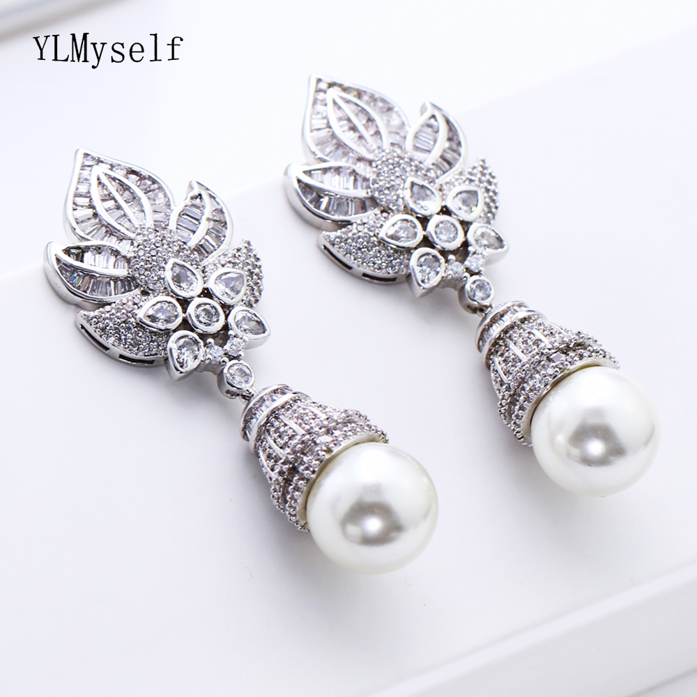 Big drop earrings Hyperbole design jewelry brinco pendientes mujer moda handmade pearl Gold color large earring