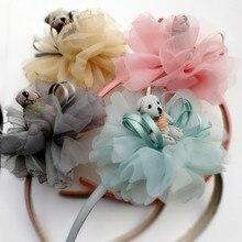 1PC/LOT Floral Bear Ribborn Bow Hairband Chiffon Pom Lovely Kid Headband Cute Summer Style Flower Girl Hotsale Headwear