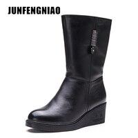 JUNFENGNIAO Women Shoes Snow Rain Boots Female Plush Fur Winter Warm Round Toe Cow Genuine Leather