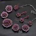 Violetta Big Colares Rosa Colar & Brincos Conjuntos de Jóias de Casamento Das Mulheres Vestido de Noiva Conjunto de Bijuterias Brincos joyeria