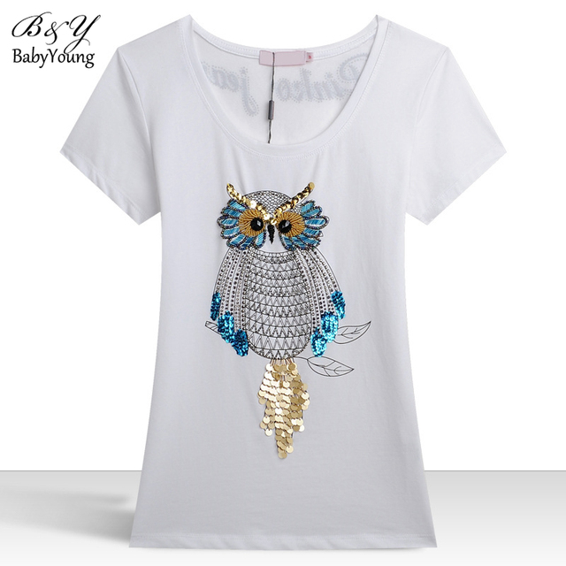 2016 Summer T Shirt Women Owl Hand-Beaded Sequins Dimensional Pattern Camisetas Mujer Plus Size M-3XL T-Shirt Women