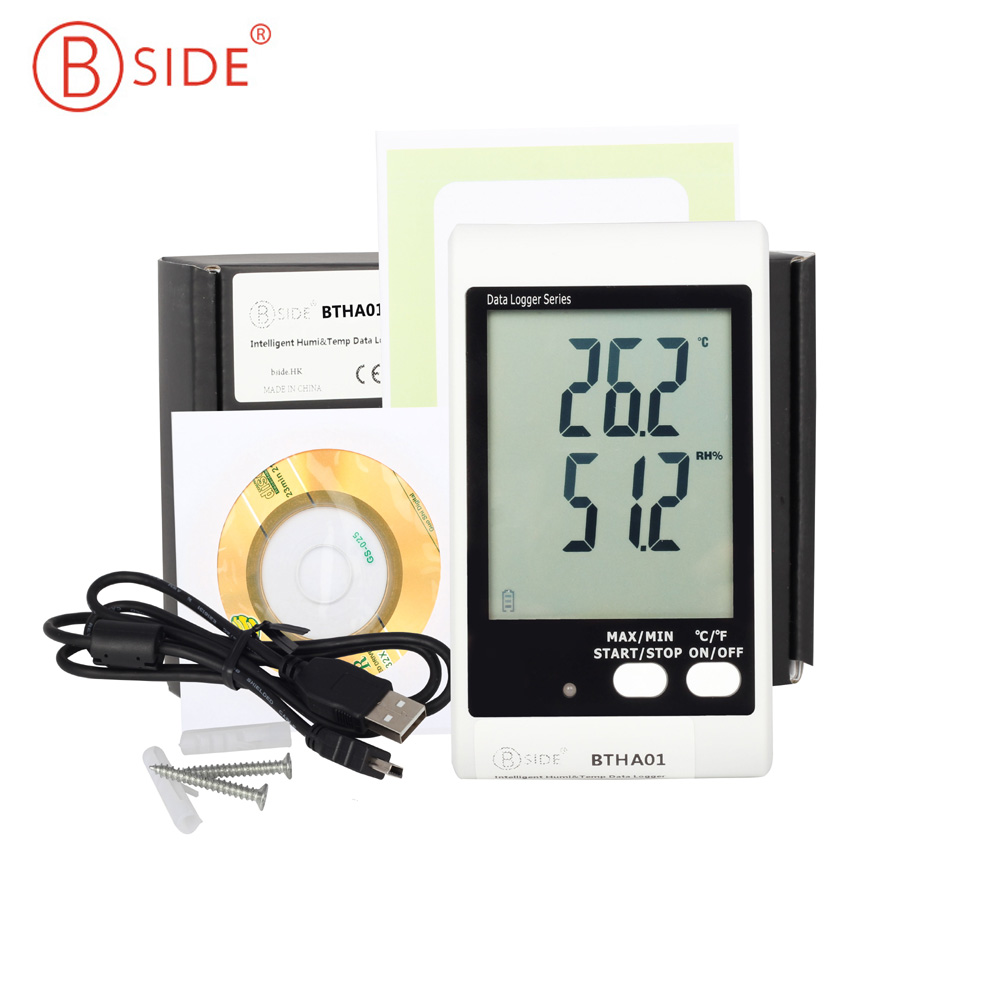 BSIDE BTHA01 Temperature Humidity Data Logger USB w/ Built-in Probe Sound-Light Alarm Large Display handheld professional humidity and temperature sd data logger with built in internal