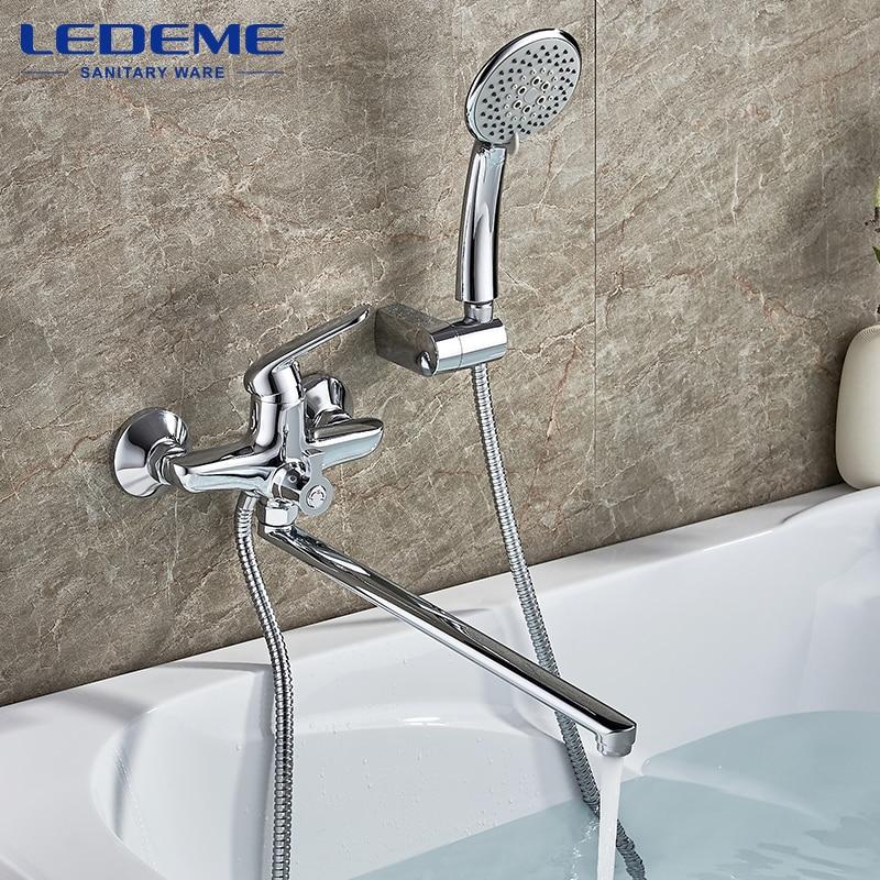 LEDEME Chrome Plated Bathroom Shower Faucet Bathroom Shower Faucet Mixer Shower Set Tap With Hand Brass Shower Head Set L2248 диски helo he844 chrome plated r20