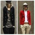 Приталенный тенденция красный мужчины блейзер костюм красный костюм ночной клуб сцена шоу одежда / S-XXL