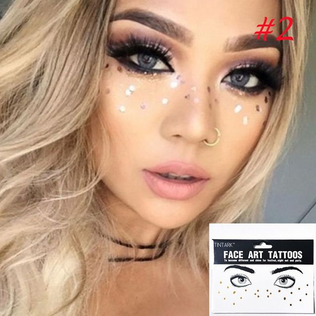 f0a0214a70d25 1Pcs Fashion New Arrival Disposable Gold Face Tattoo Stickers Waterproof  Bronzing Beauty Freckles Makeup Flash Body