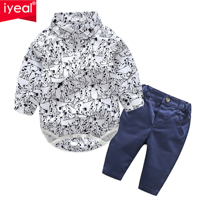 IYEAL Spring Cotton Gentleman Baby Boys Clothes Long Sleeve Shirt Rompers With Trousers Clothing Sets For Kids Toddler Baby Wear mother nest 3sets lot wholesale autumn toddle girl long sleeve baby clothing one piece boys baby pajamas infant clothes rompers