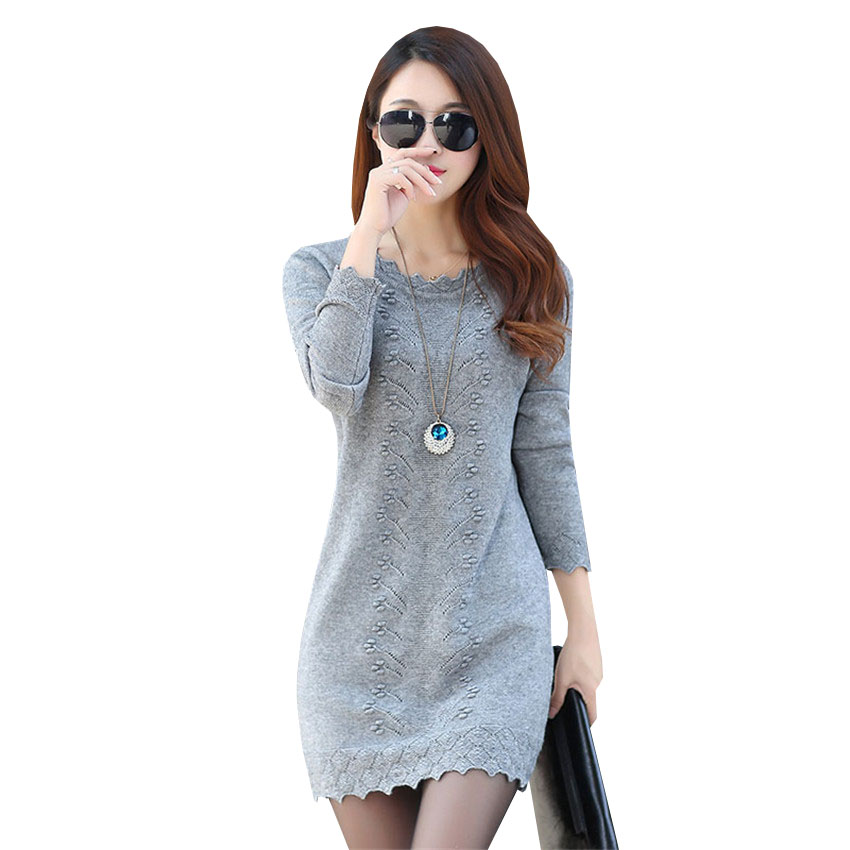Autumn Winter Sweater Dress Women New Slim Warm Thick Knitted Dresses Female Long Sleeve Pullovers Bottoming Vestidos Robe AB628 2017 winter women jacket new fashion thick warm medium long down cotton coat long sleeve slim big yards female parkas ladies269