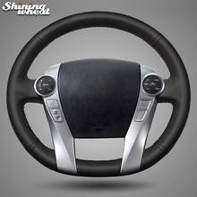 BANNIS черный кожаный чехол рулевого колеса автомобиля для Toyota Prius 2009- Aqua