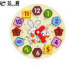Digital Geometry Clock 3D Wooden Puzzle Baby Kids Educational Learning Puzzles Wood Jigsaw Board Cartoon Rabbit Cute Toy Gifts
