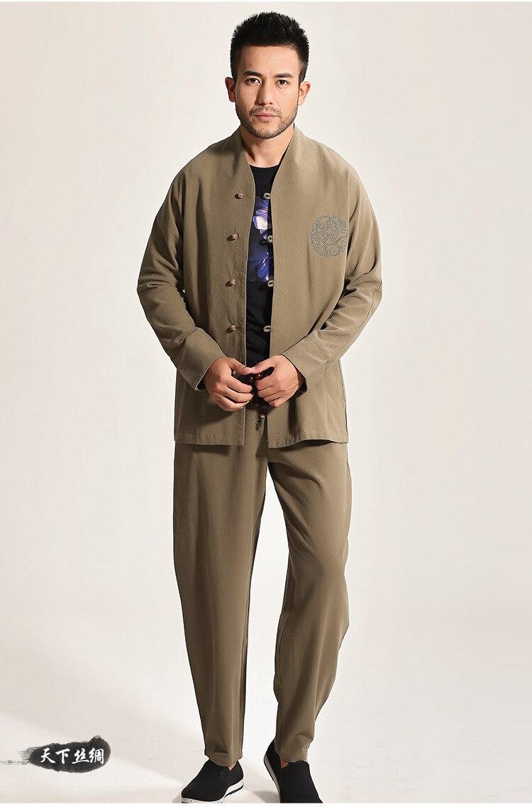 High Quality Gray Chinese Men's Cotton Kung Fu Suit Solid Color Wu Shu Sets Shirt&Pant Uniform S M L XL XXL XXXL - 5