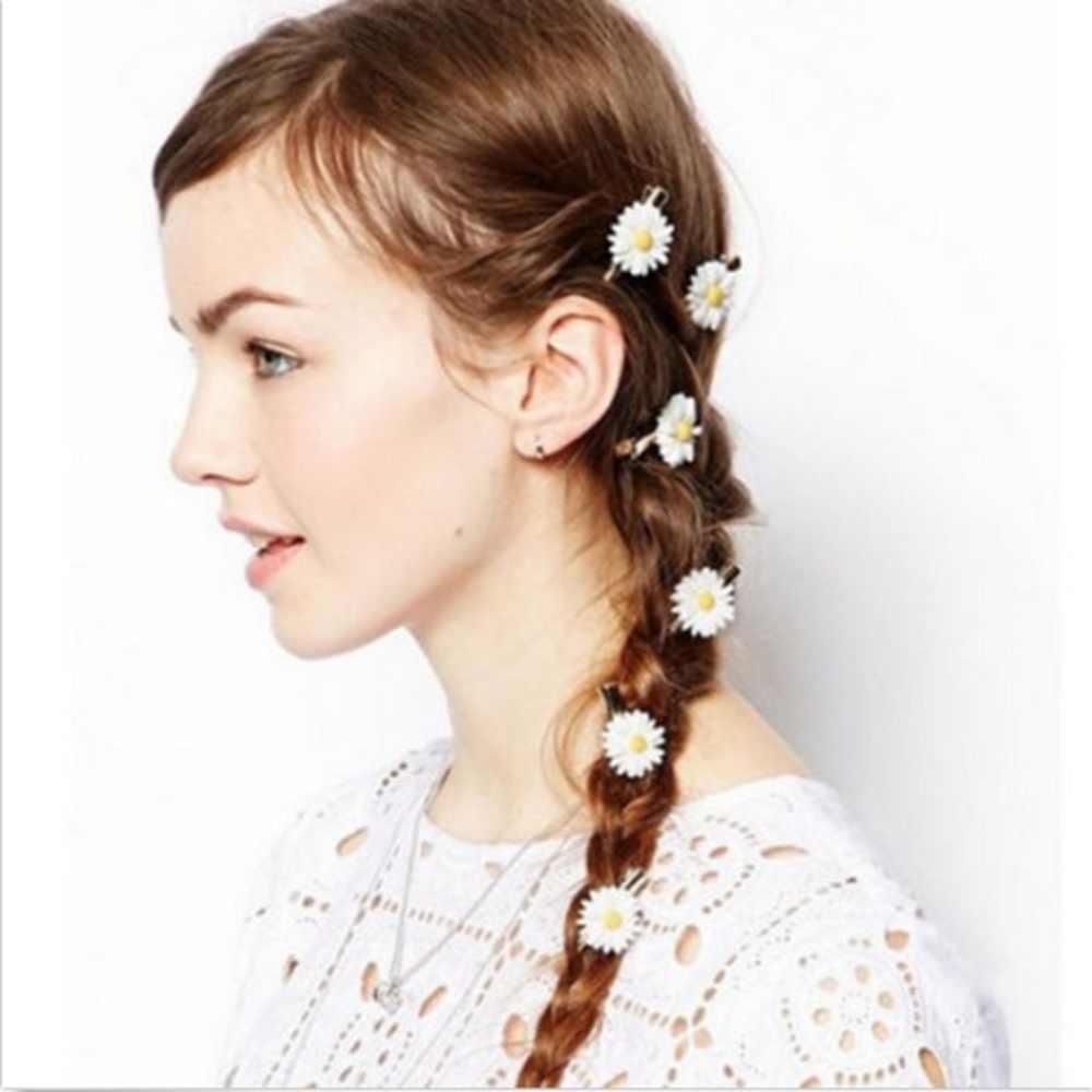 2 Pcs Daisy Elastic Hair Ring Rope Band Hair Clips Ponytail Holder Girl Kid Baby