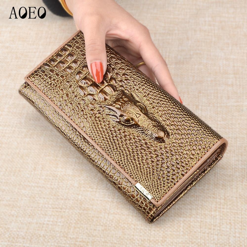 купить Wristlet Three Fold Wallet Female 3D Crocodile Purse Alligator Coin purse Women Wallets Lock Split Leather Long Clamp for Money недорого