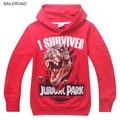 Mundo jurássico dinossauro infantil meninos camisolas de algodão crianças meninos hoodies clothing outono bebê crianças camisolas saileroad