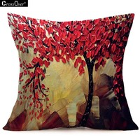 16pattern 45 45cm 3D Painting Trees Flowers Cotton Linen Printed Cushion Cover For Office Car Home