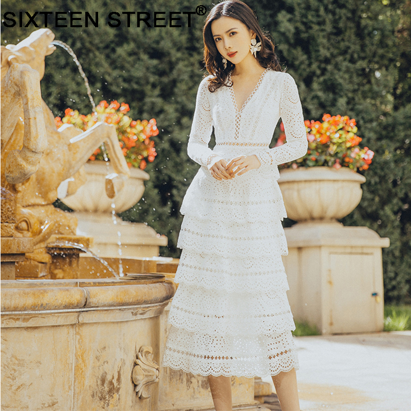 <font><b>Sexy</b></font> v-neck lace long sleeve white <font><b>dress</b></font> woman elegant summer beach cake <font><b>dress</b></font> hollow out runway design <font><b>bodycon</b></font> for woman image