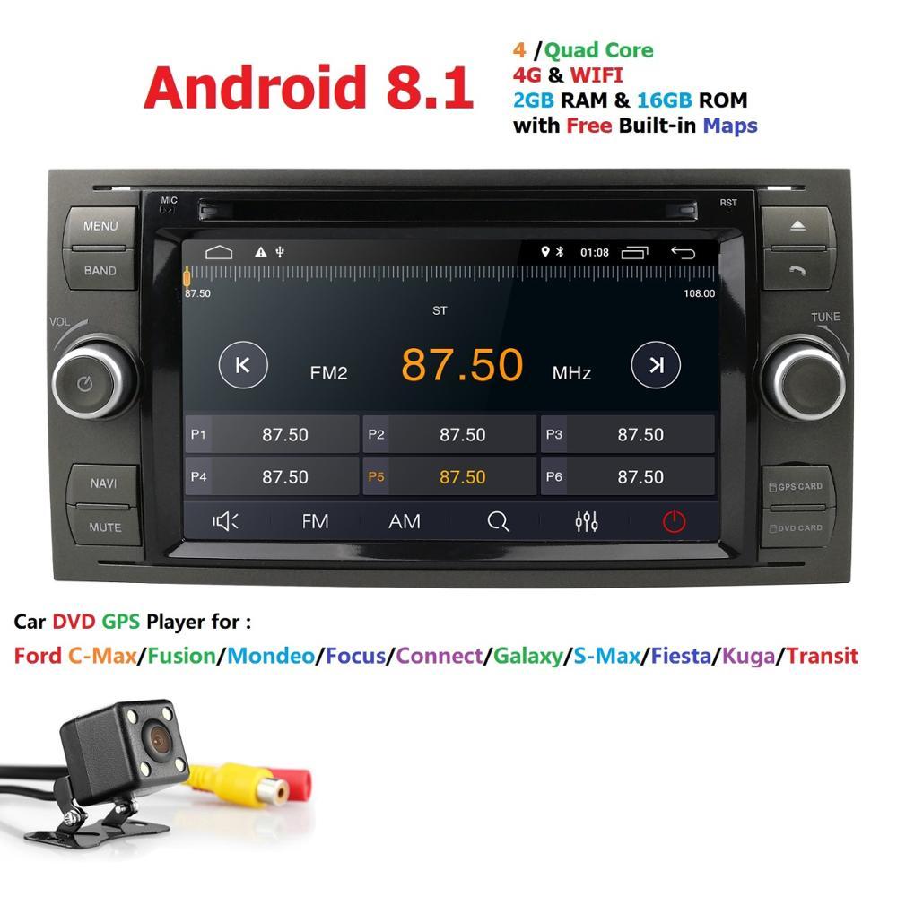 Carro DVD Player AutoRadio Android 8.1 Preto Sliver 2 3 de Áudio Para Ford Focus Mondeo S-max CMax Fiesta Galaxy Fusão 2006-2011 GPS Navi