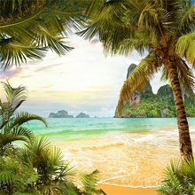 Laeacco Tropical Palm Tree Mountain Sun Sea Scenic Natural Party Photography Background Photographic Backdrops For Photo Studio