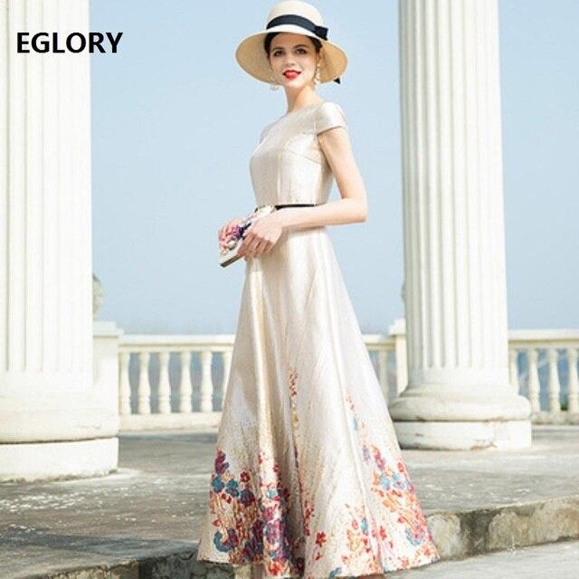 Top Grade New 2019 Spring Summer Long Party Evening Gowns Women O-Neck Short Sleeve Vintage Jacquard Print Maxi Gown Dress XXXL