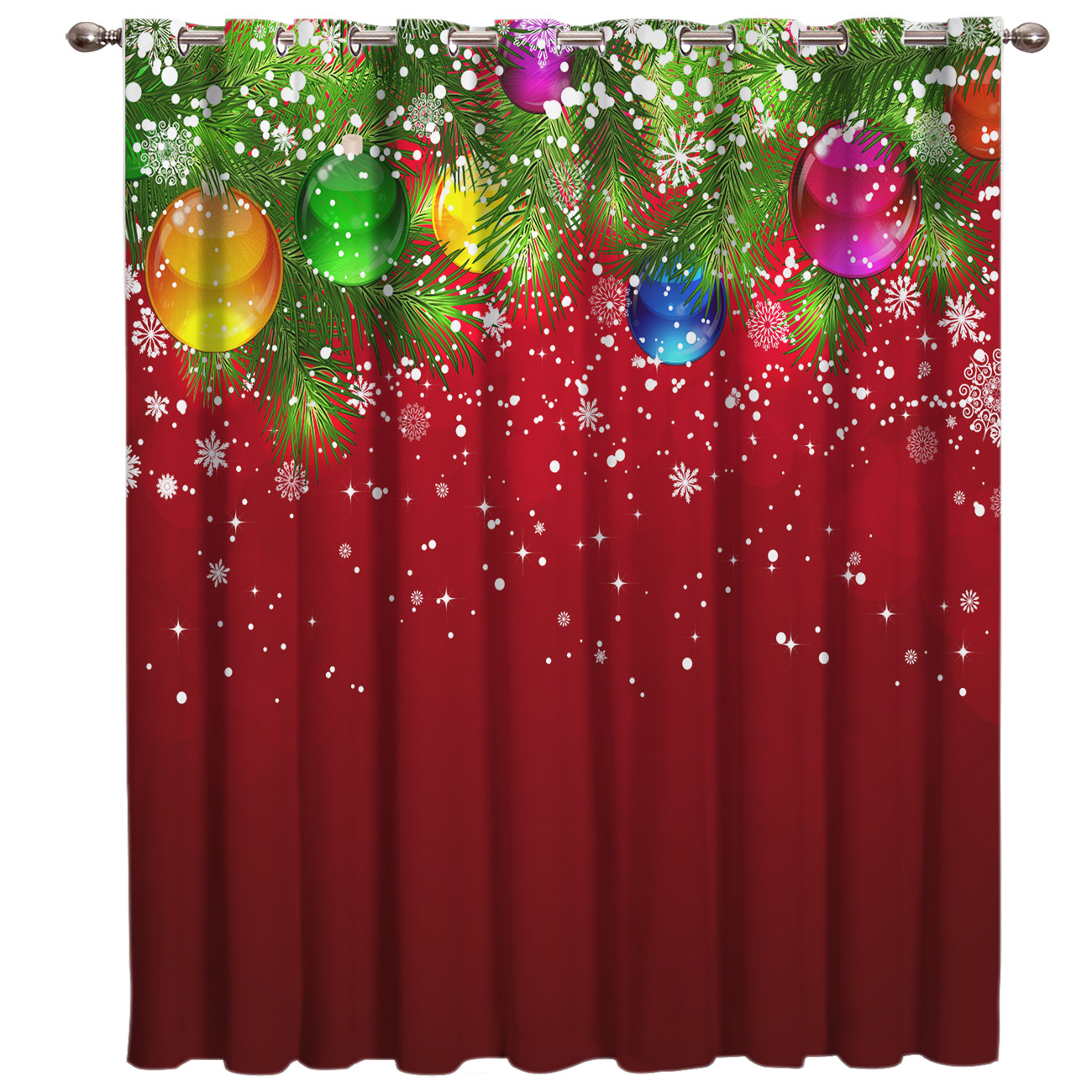 Merry Christams White Snow Window Curtains Dark Curtain Lights Living Room Blackout Bathroom Bedroom Fabric Decor Kids Curtain