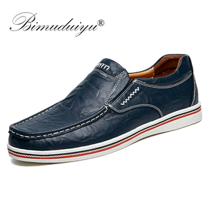 Image 1 - BIMUDUIYU Hot Sell Mens British Style Boat Shoes Minimalist Design Leather Men Dress Shoes Loafers Formal Business Oxfords Shoes