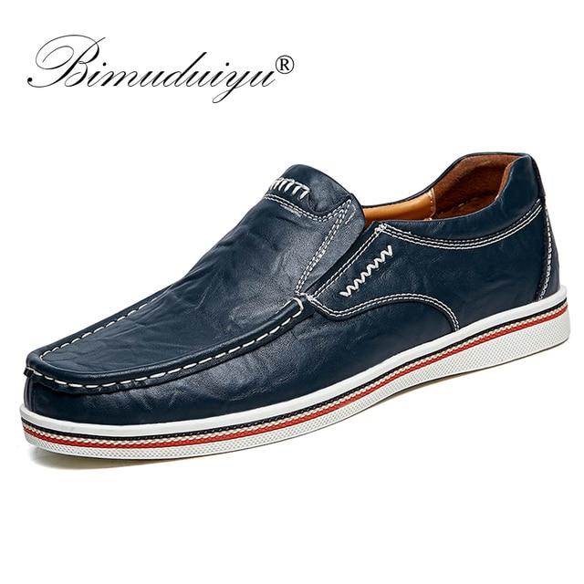 BIMUDUIYU Hot sprzedam męskie brytyjskie buty w stylu łodzi minimalistyczny design skórzane męskie buty sukienka mokasyny formalne buty biznesowe oksfordzie