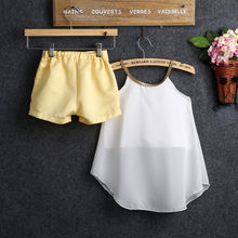 Baby Girl Clothes Set 2017 Hot Fashion Kids Girls Clothes Chiffon Straps Tops Shirt + Shorts Outfits Children Clothing Sets