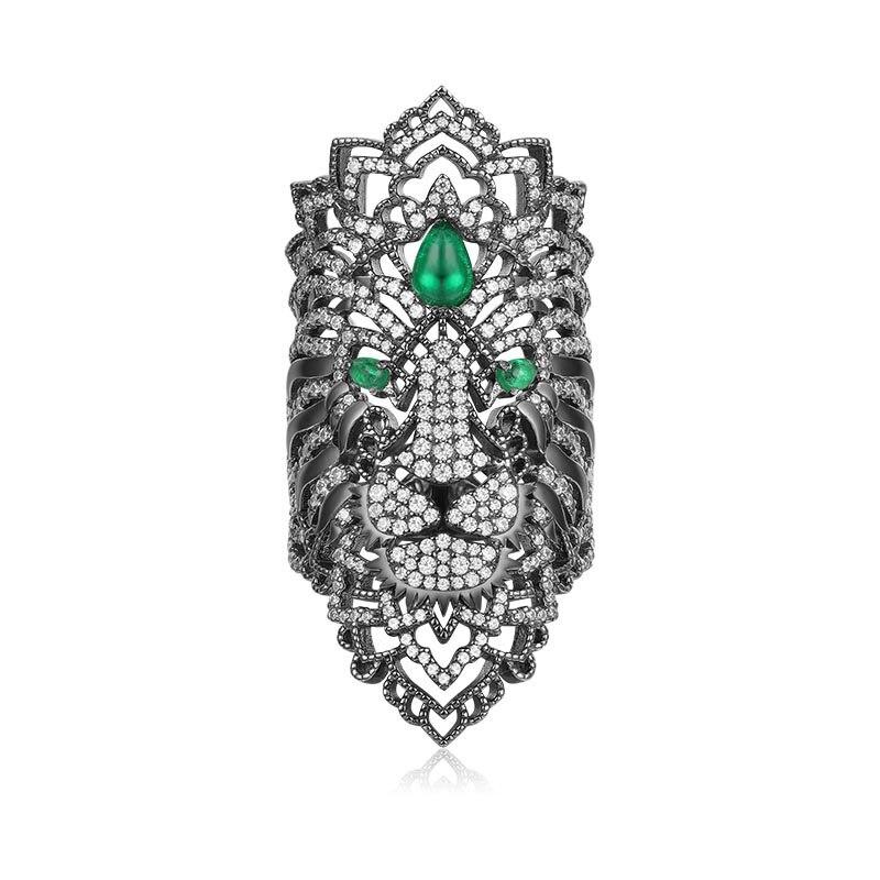 SLJELY 925 Sterling Silver Black Dark Grey Fierce Lion Ring Green Eyes CZ Zircon Stones Monaco