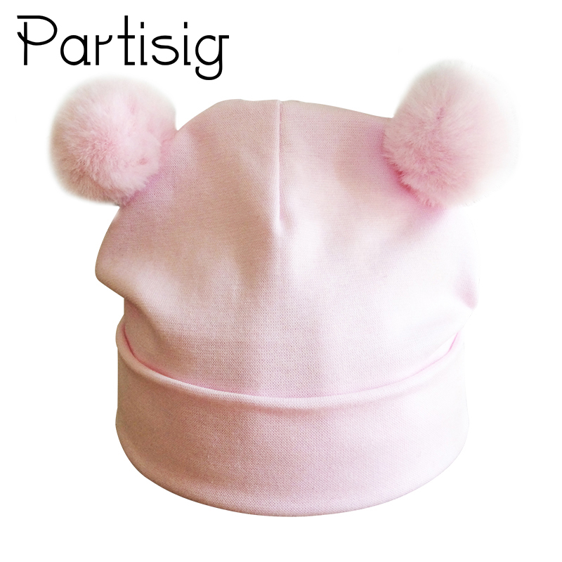 Partisig Baby Hat Double Pompom Hat For Girls Cotton Kids Cap Fashion Children's Hats Caps trendy cotton fedora hat cap black