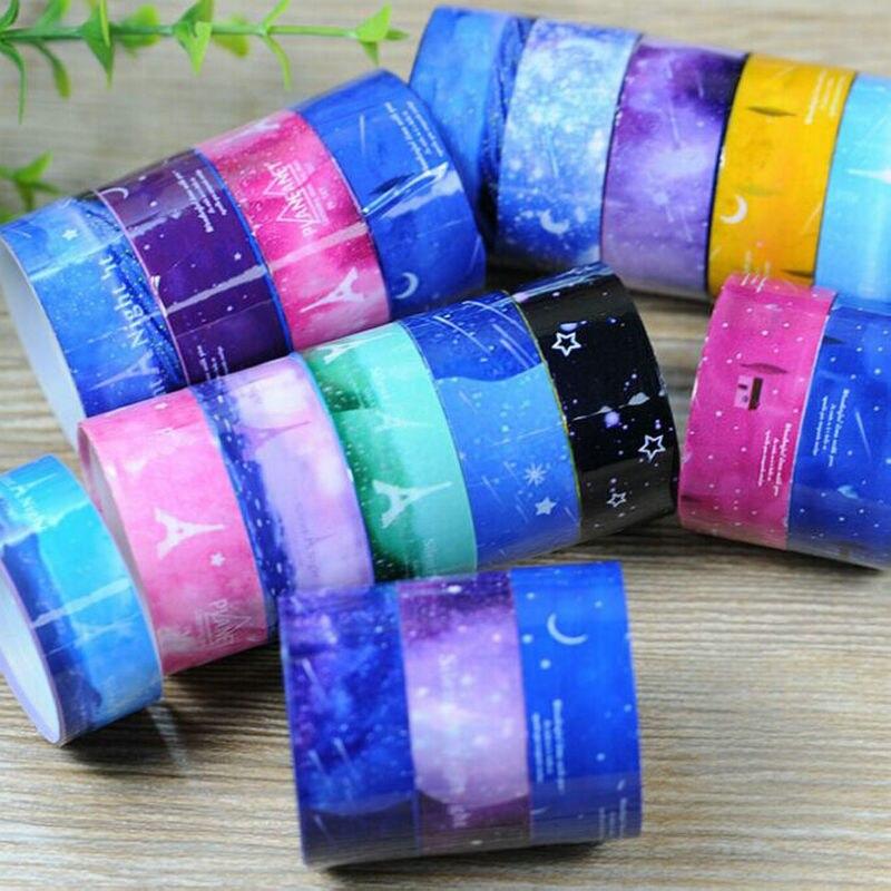 10 Pcs/lot Starry Sky Washi Pvc Roll DIY Decor Scrapbooking Sticker Masking Tape Adhesive Washi Paper