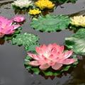 1 unids/lote 10 cm tacto Real flor de loto Artificial espuma flores de loto agua lirio flotante piscina plantas boda jardín decoración