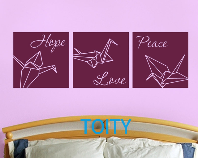 Aliexpress.com : Buy Peace, hope, love with origami cranes wall ...