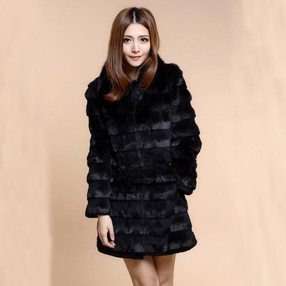 2019 Women Winter Top Brand Real Full Pelt Rabbit Fur Coat With Genuine Fox Fur Coat Cut Stripe Fur Overcoat Bis Size Wsr385