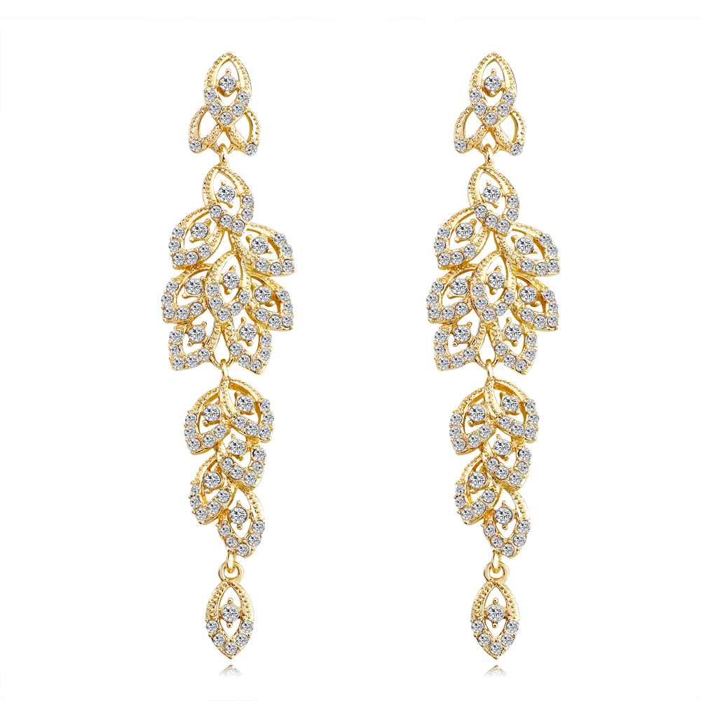 Us 3 0 30 Off 2018 Fashion Silver Gold Color Metal Long Earrings Leaf Shaped Rhinestone Bride Wedding Indian Jewelry In Drop