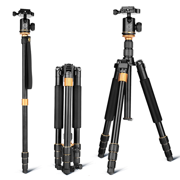 QZSD Q999S Professional Photographic Portable Aluminium Alloy Tripod Kit Monopod Stand Ball head For Travel DSLR Camera aluminium alloy professional camera tripod flexible dslr video monopod for photography with head suitable for 65mm bowl size
