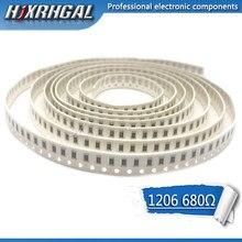 100PCS 1206 SMD Resistor de 680 ohm resistor de chip 0.25W 1/4W 680R 681 hjxrhgal
