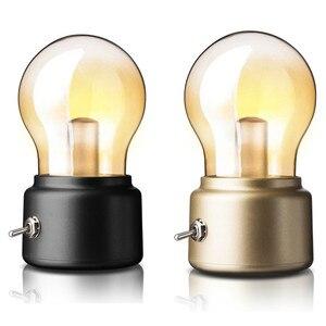 Image 2 - Vintage Bóng Đèn LED Ánh Sáng Ban Đêm Retro USB 5V Sạc Pin Tâm Trạng Đèn Bàn Viết Bàn Đèn Di Động Đèn Ngủ