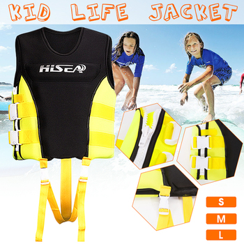 Children Life Vest S/M/L Neoprene+Soft Nylon Kids Life Jacket 2-Buckle PFD Vest Premium Neoprene Vest Water Ski Wakeboard