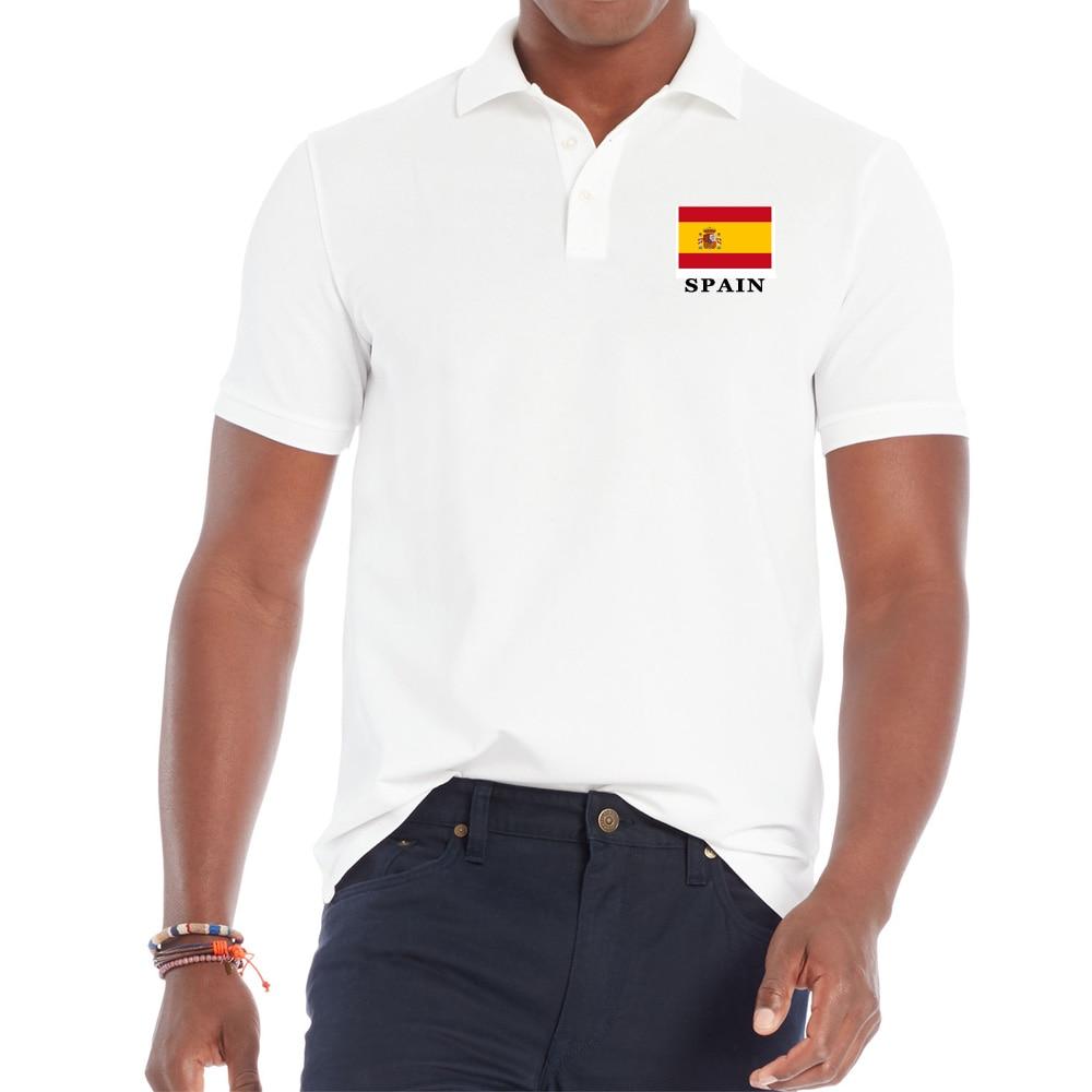 Turndown Collar Shirt For Men SPAIN National Flag Printed Cotton Short Sleeve Men Tee Shirt Casual Breathable Men Clothing