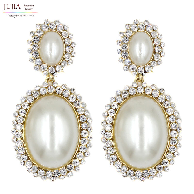 2019 New Statement Fashion Crystal Simulated Pearl Earrings Stud Earrings For Party Wedding Big Earring