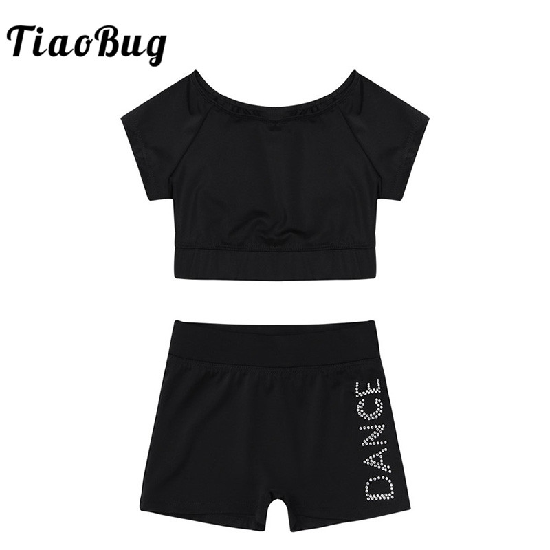 TiaoBug Girls Black Short Sleeve Tankini Crop Top Dance Shorts Set Ballet Dance Sports Workout Gymnastics Suits Kids Dance Wear